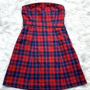 American Eagle Plaid Wool Strapless Dress Holiday